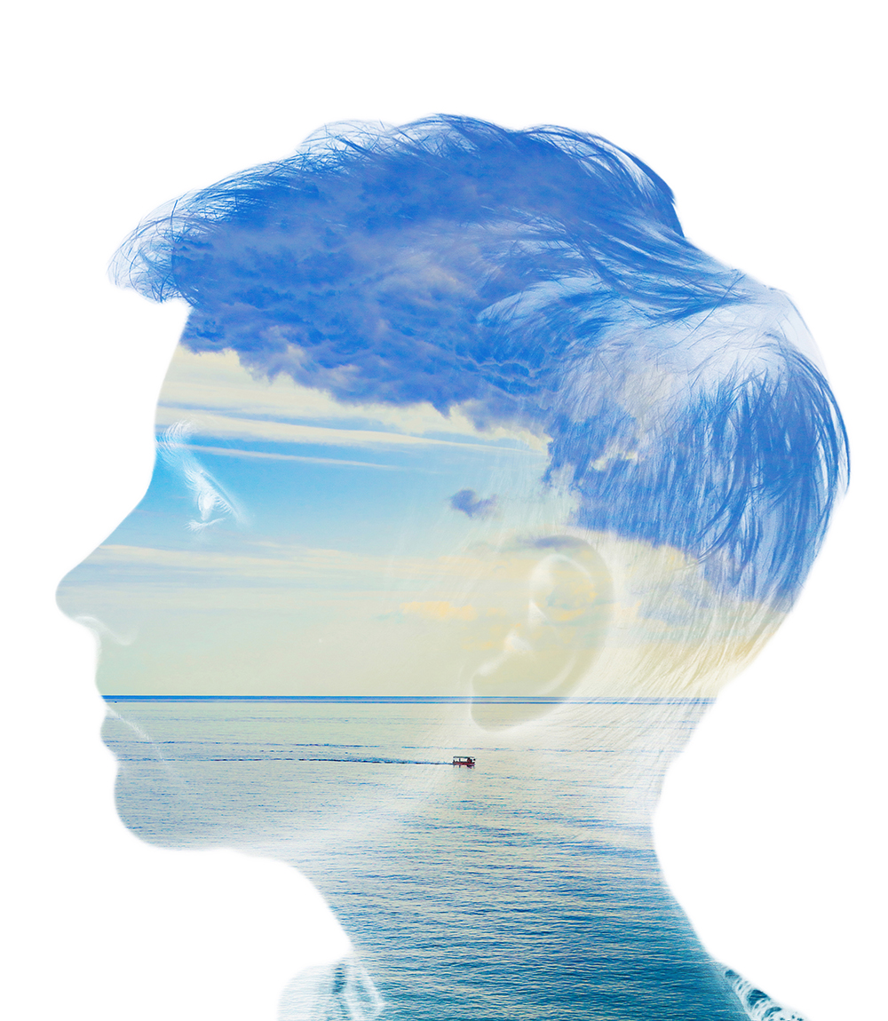 silhouette portrait white isolated with sea water and cloud nature. Mind psychology, stress therapy, human spirit, mental health, life zen iq concept